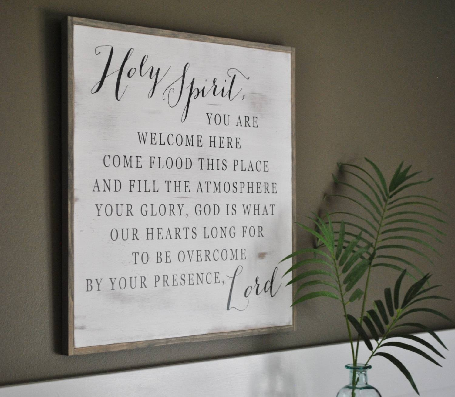 Holy Spirit 2'x2' || Inspirational Wall Art || Distressed Shabby For Best And Newest Inspirational Wall Plaques (View 18 of 20)