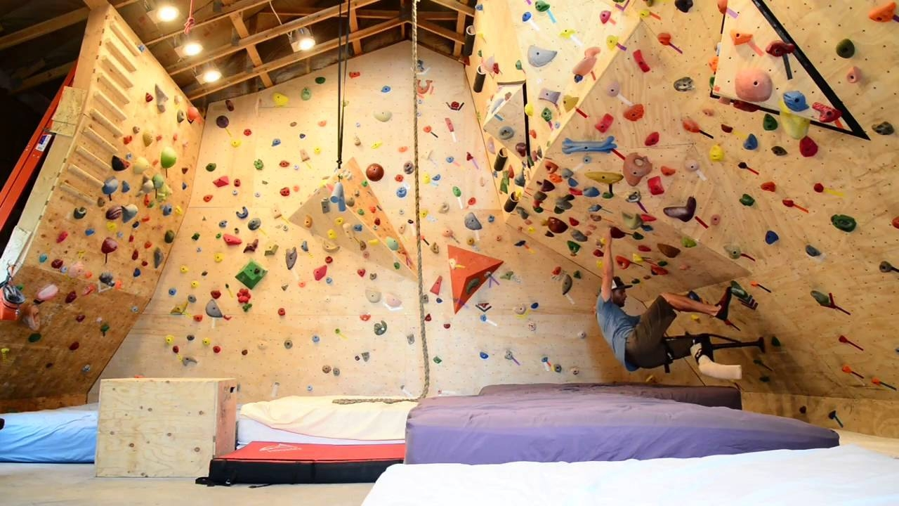Home Climbing Wall With One Leg And Iwalk 2.0 Crutch; Broken Foot Regarding Newest Home Bouldering Wall Design (Gallery 18 of 20)