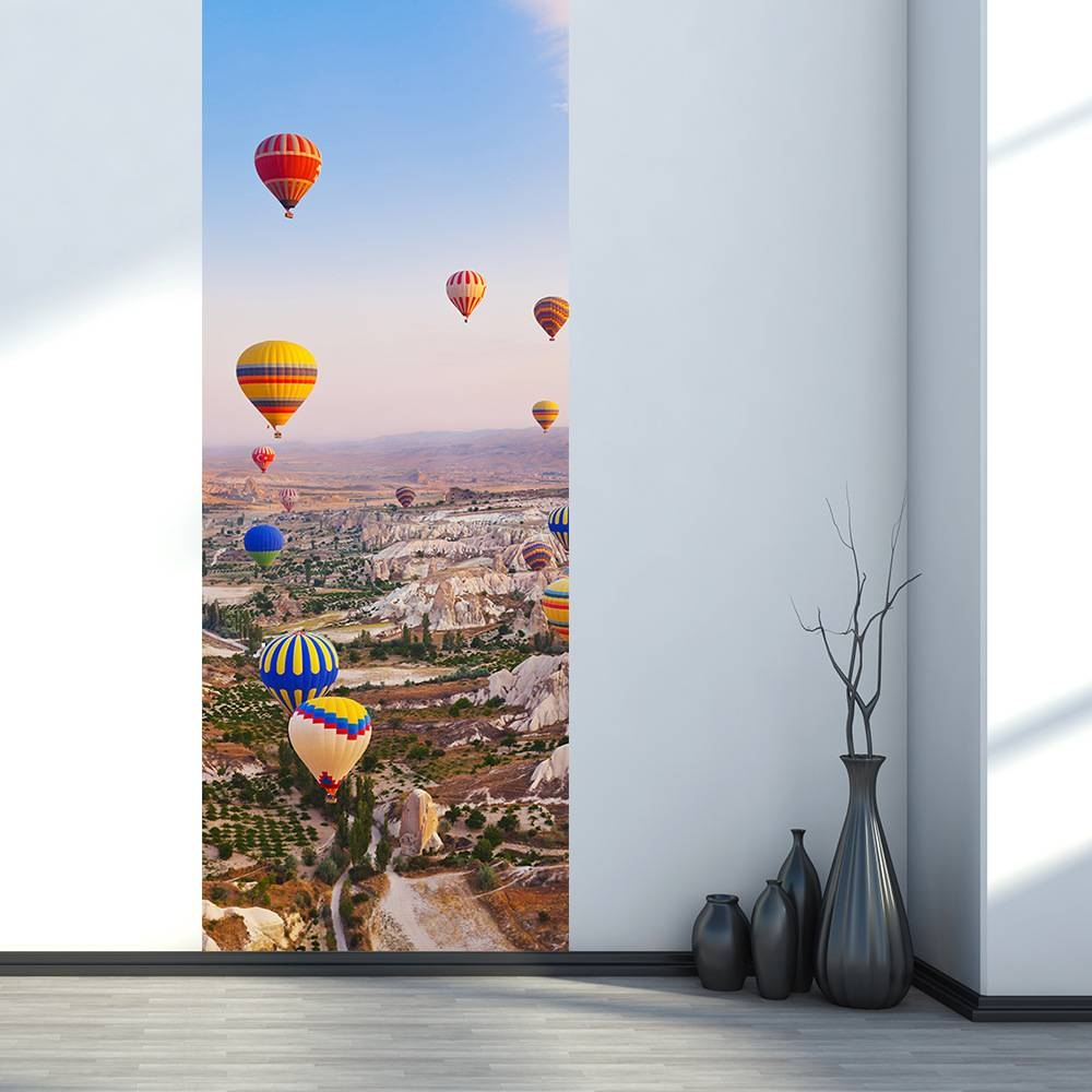 Home Creative Diy 3d Door Stickers Hot Air Balloon Pattern For Inside Latest Air Balloon 3d Wall Art (View 14 of 20)
