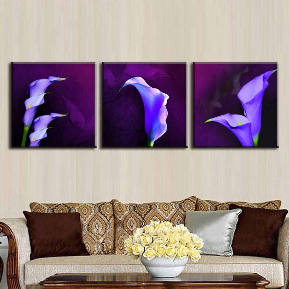 Home Decor Picture Painting On Canvas Purple Calla Lily In Plum With Best And Newest Plum Wall Art (View 10 of 20)