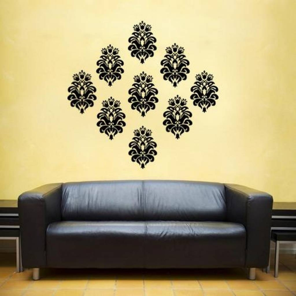 Home Decor Wall Art Stickers Baroque Damask Filigree Vinyl Decal Pertaining To Most Current Filigree Wall Art (View 7 of 30)