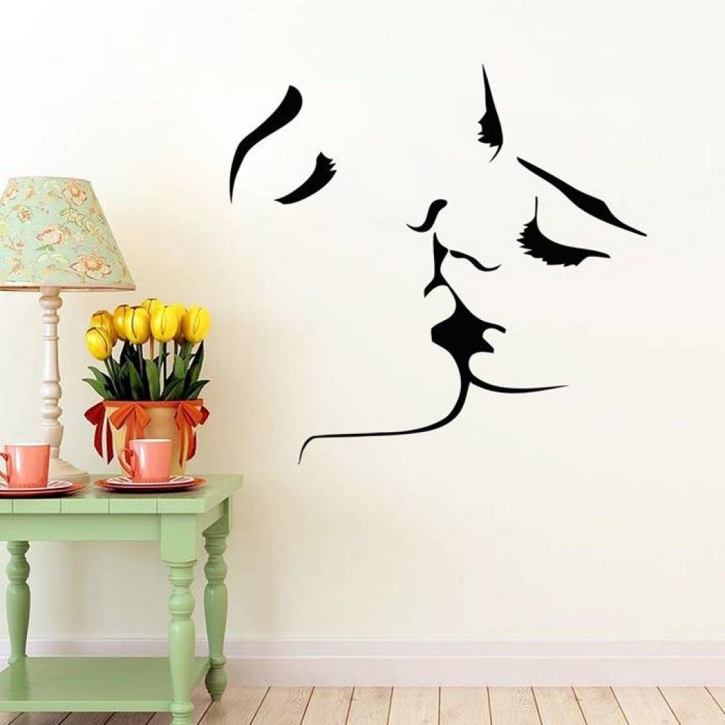 Home Decor Wall Art Stickers Face Kiss Couple Wedding Wall Art Within Recent Filigree Wall Art (View 2 of 30)