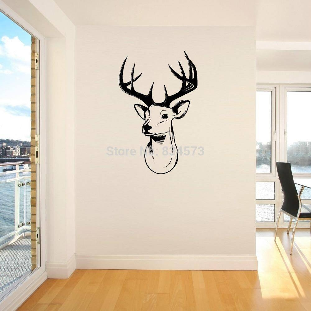Home Decor Wall Sticker Stags Head Deer Trophy Antlers Steer Wall With Latest Stags Head Wall Art (View 9 of 25)
