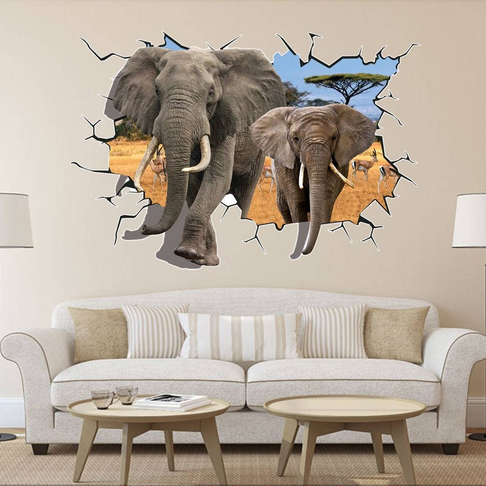 Home Decoration 70*100Cm Africa Rainforest Animals Elephant Mural Throughout Recent Animals 3D Wall Art (Gallery 5 of 20)