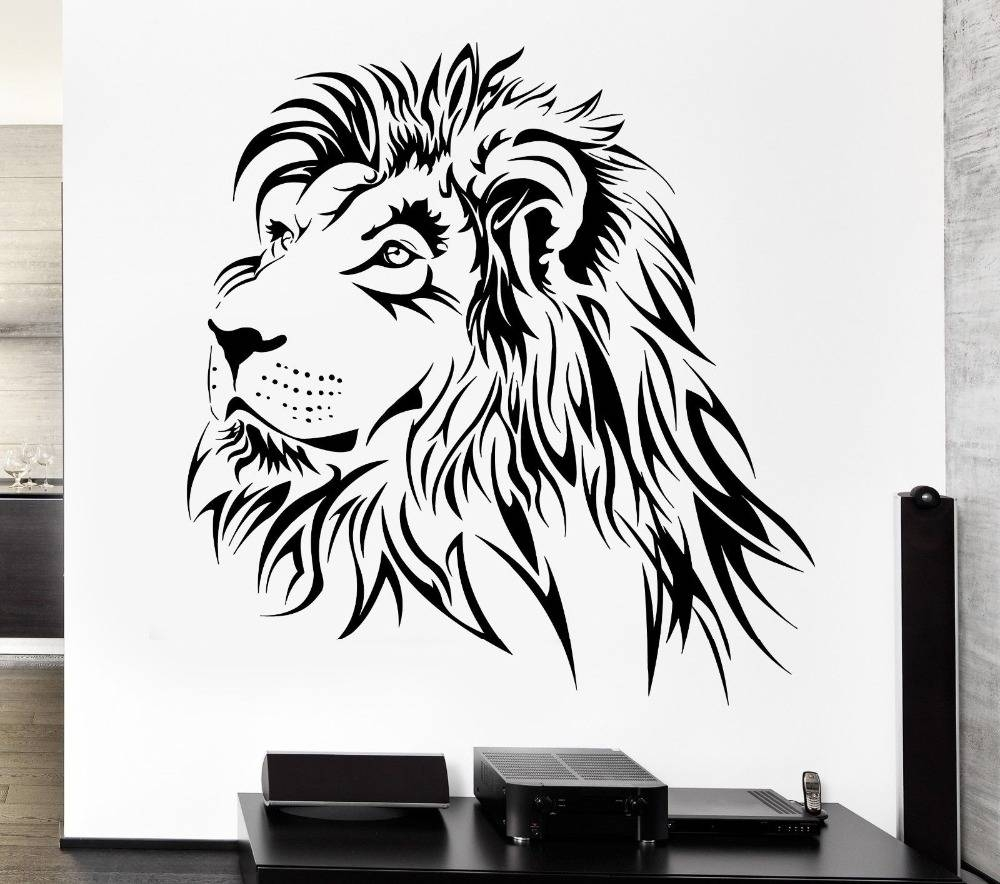Home Decoration Lion Wall Decal Tribal Zoo Animal Vinyl Stickers Pertaining To Best And Newest Lion Wall Art (View 10 of 20)