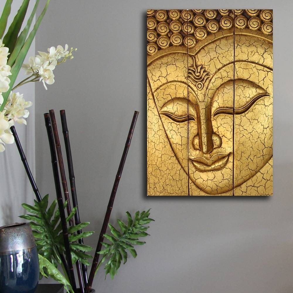 Home Design : Thai Buddha Face Statue Large Hand Carved Wooden Regarding Latest Buddha Wooden Wall Art (View 9 of 20)