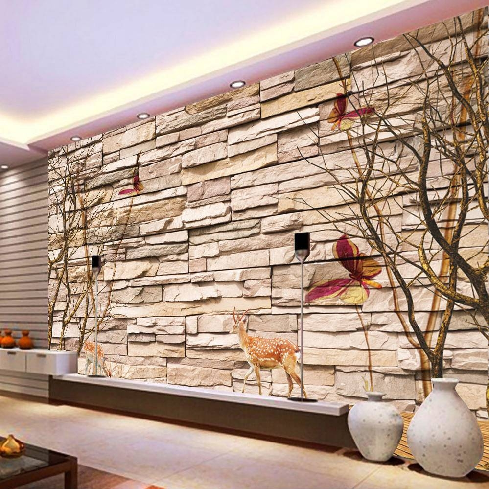 Home Improvement Modern 3D Embossed Brick Stone Wallpaper Wall Art Intended For Newest