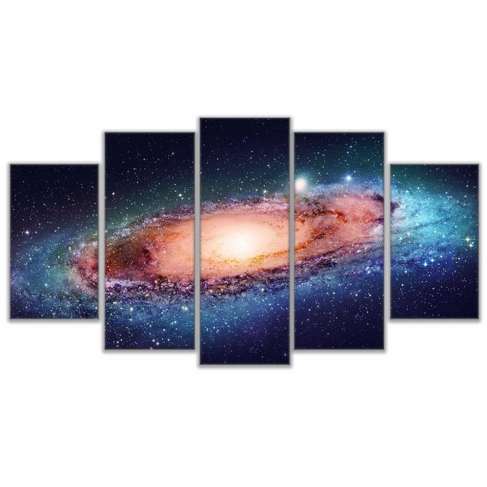 Home Wall Art Decor Pictures Frame Hd Prints 5 Pieces Universe Intended For Recent Outer Space Wall Art (View 11 of 25)
