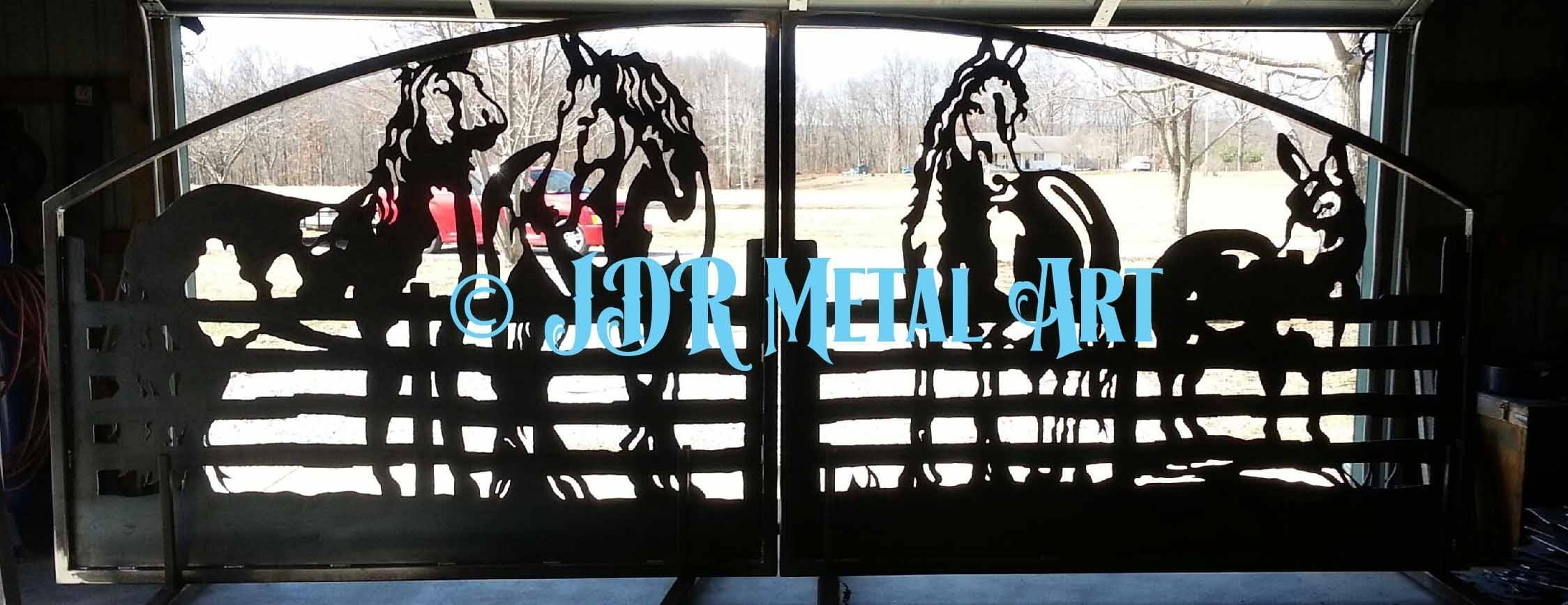 Horse Themed Gate Designs Pertaining To Most Current Western Metal Art Silhouettes (View 14 of 30)