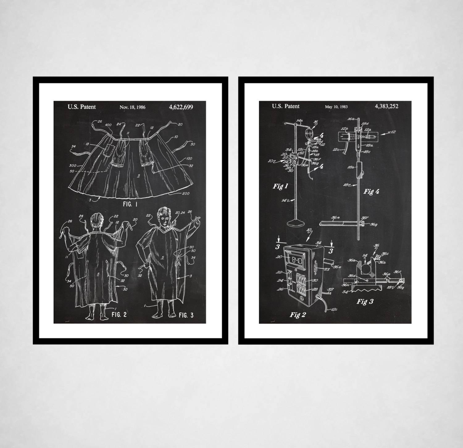 Hospital Decor – Hospital Gown Patent, Iv Pump Patent, Hospital Throughout Recent Medical Wall Art (View 12 of 20)