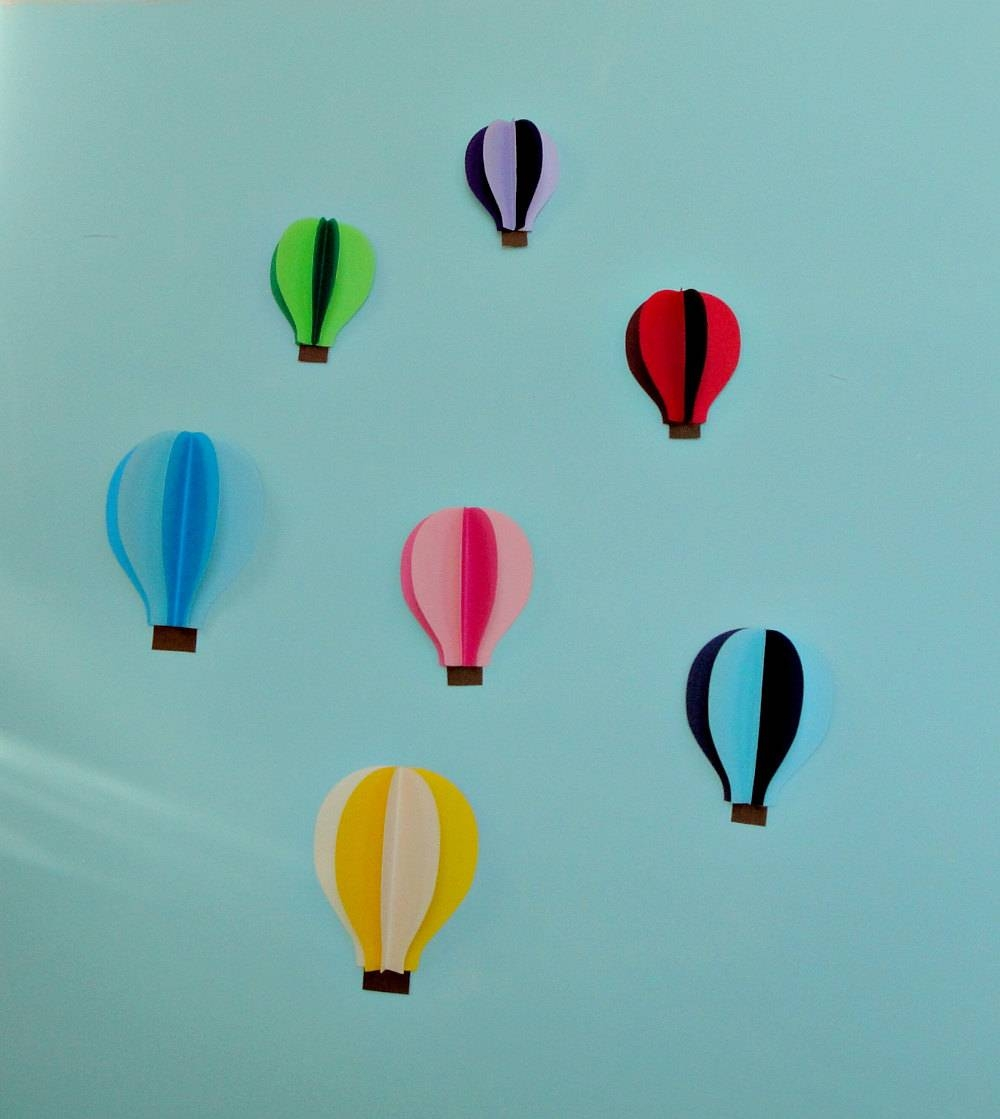 Hot Air Balloon 3d Paper Wall Art/wall Decor Within Most Recently Released Air Balloon 3d Wall Art (View 2 of 20)