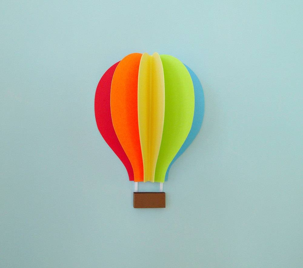 Hot Air Balloon Wall Decal Paper Wall Art Wall Decor 3d Inside 2018 Air Balloon 3d Wall Art (View 1 of 20)
