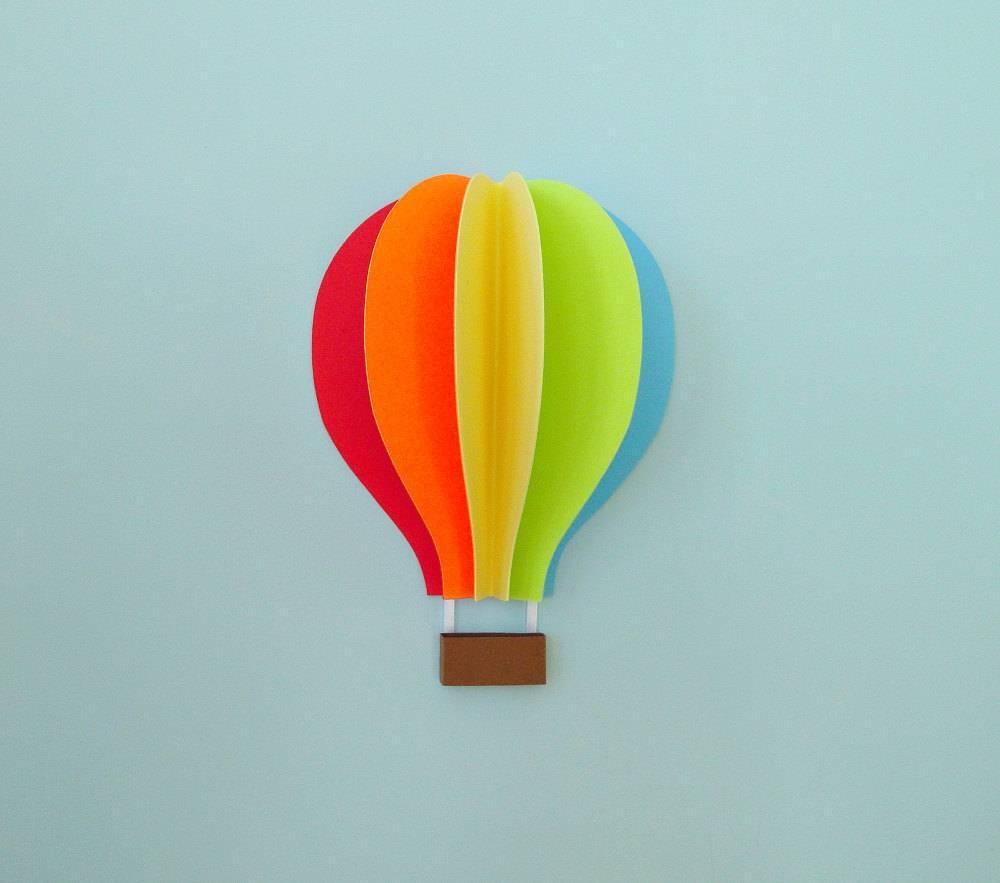 Hot Air Balloon Wall Decal Paper Wall Art Wall Decor 3D Inside 2018 Air Balloon 3D Wall Art (Gallery 1 of 20)