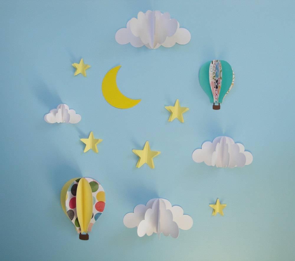 Hot Air Balloon Wall Decal Paper Wall Art Wall Decor 3D Inside Newest 3D Paper Wall Art (View 15 of 25)