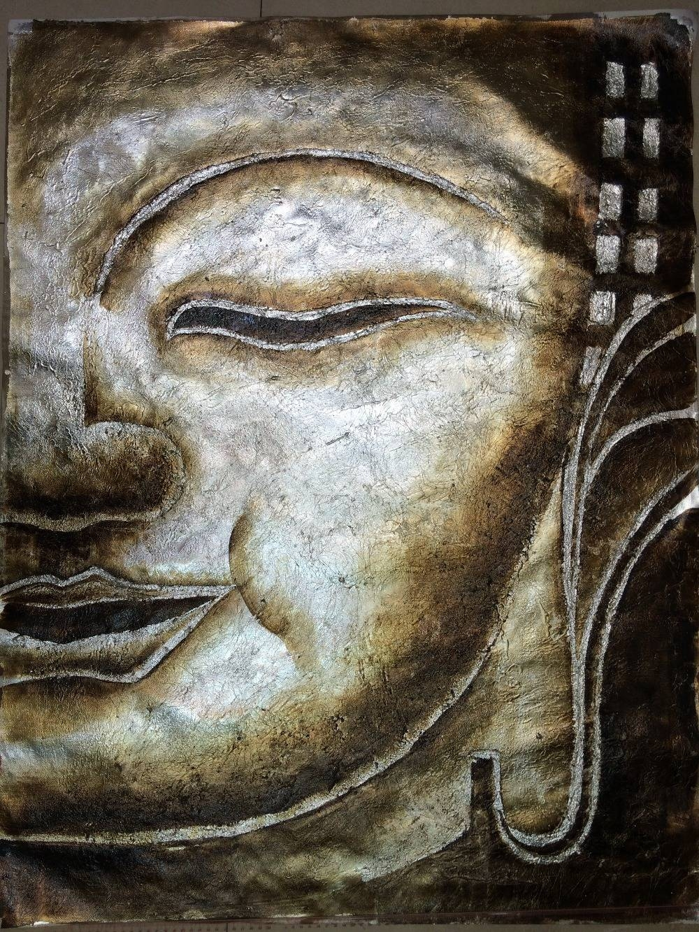 Hot Sale 100% Handpainted Canvas Painting Modern Silver Foil Of With Current Silver Buddha Wall Art (View 9 of 15)