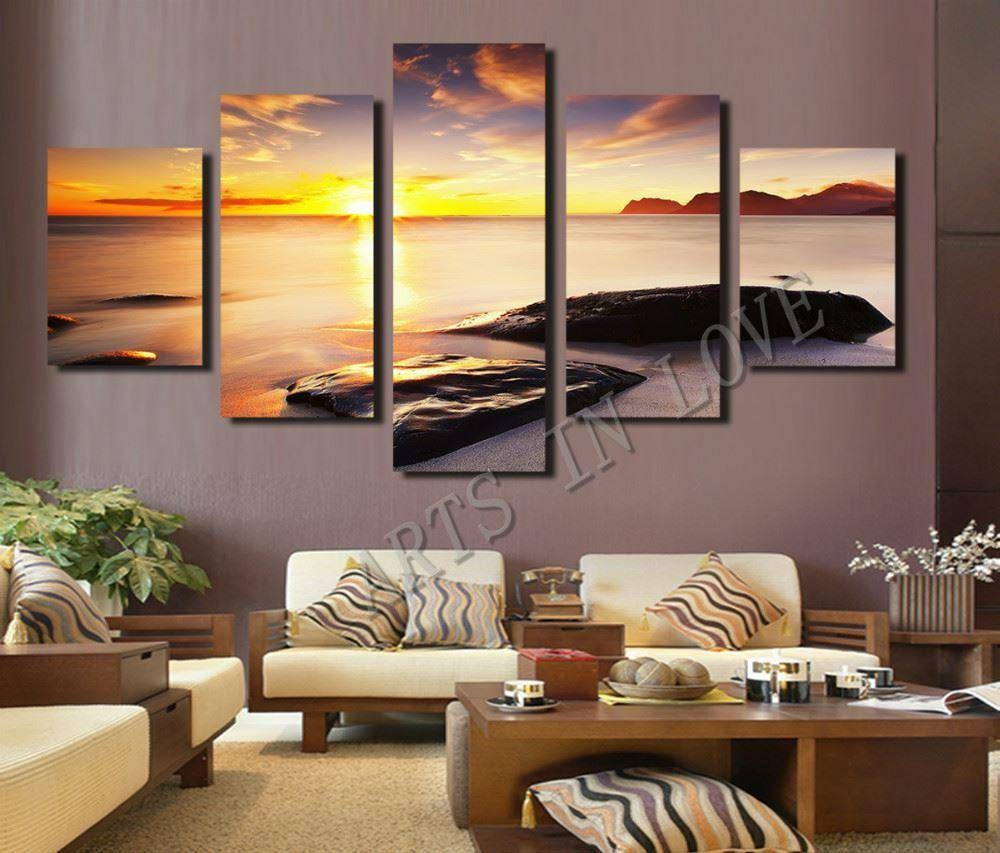 Hot Sell Diamond Sunset Beach Stone Modern Home Wall Decor Canvas Inside Latest 3D Wall Art For Living Room (Gallery 1 of 20)