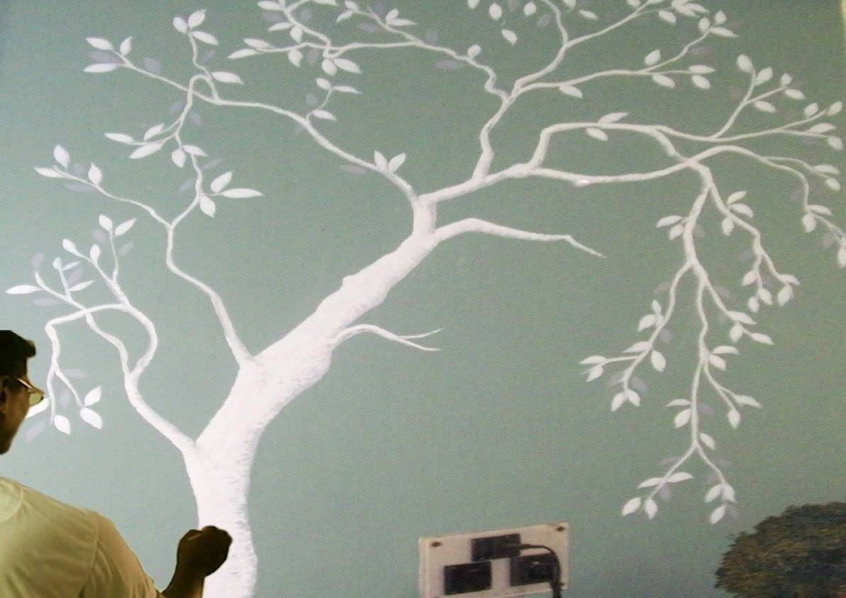 How To Draw A Tree Painting On The Wall | – Paint With Dilip Art In Most Recent Painted Trees Wall Art (Gallery 14 of 20)