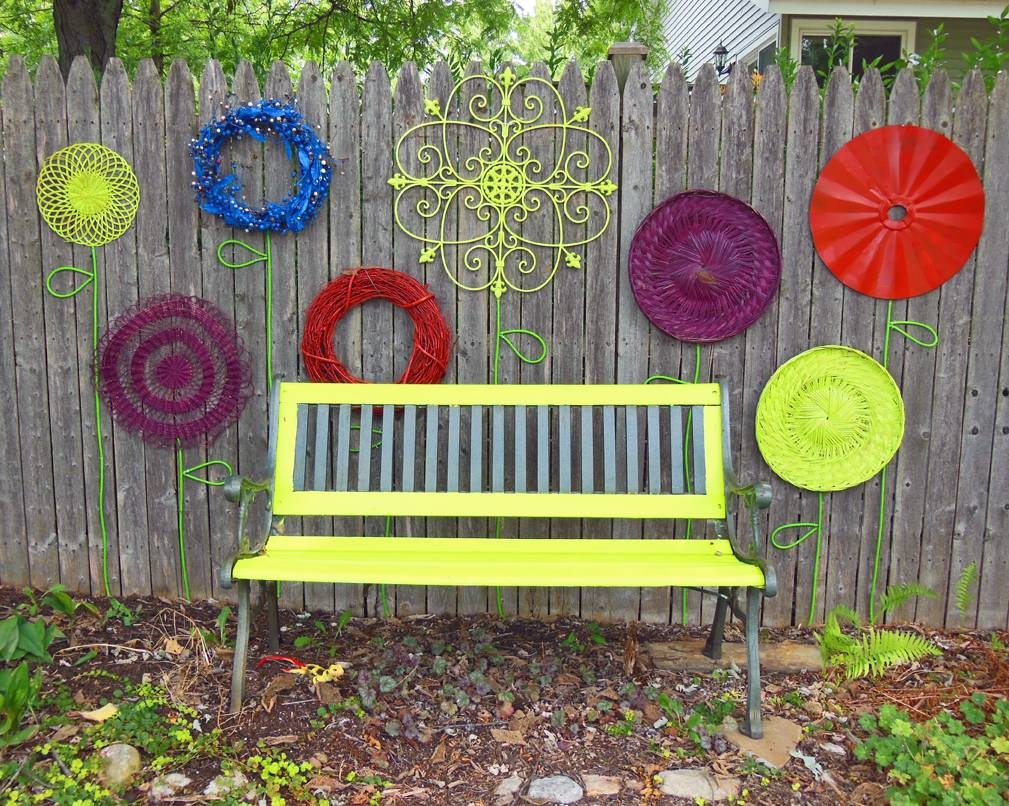 How To Make A Recycled Garden Fence Flower Folk Art Display For Best And Newest Garden Wall Art (View 19 of 30)