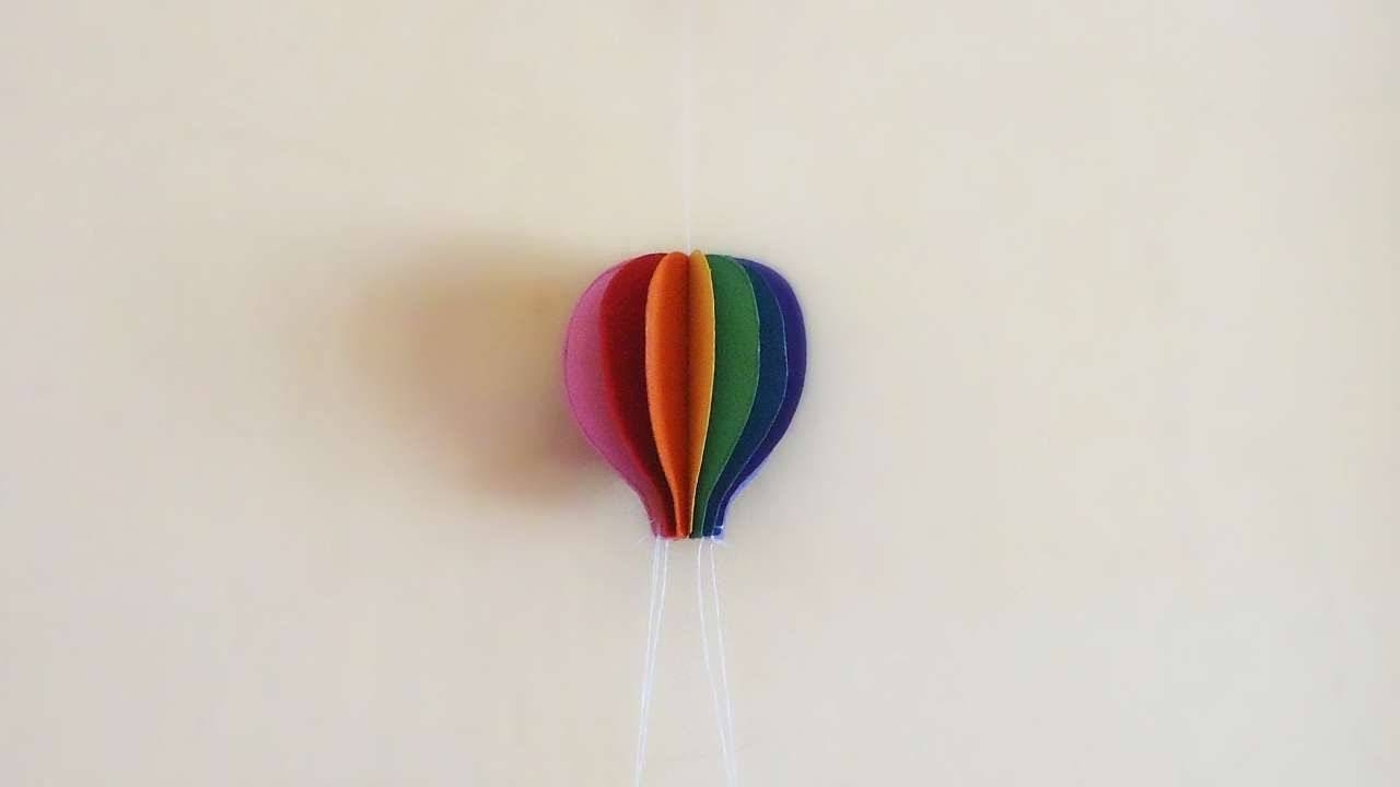 How To Make Colorful Paper Hot Air Balloon – Diy Crafts Tutorial Inside Most Recent Air Balloon 3d Wall Art (View 8 of 20)