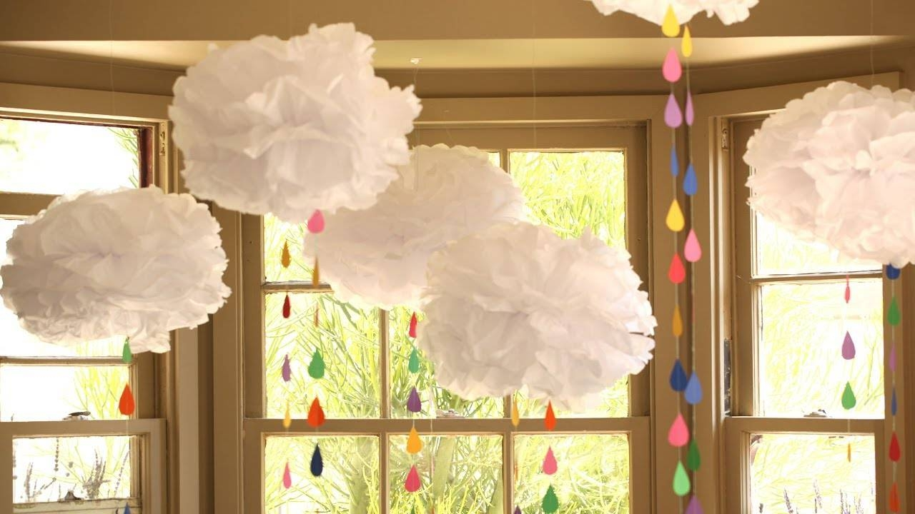 How To Make Tissue Paper Clouds – Youtube Inside Most Recent 3d Clouds Out Of Paper Wall Art (View 16 of 25)