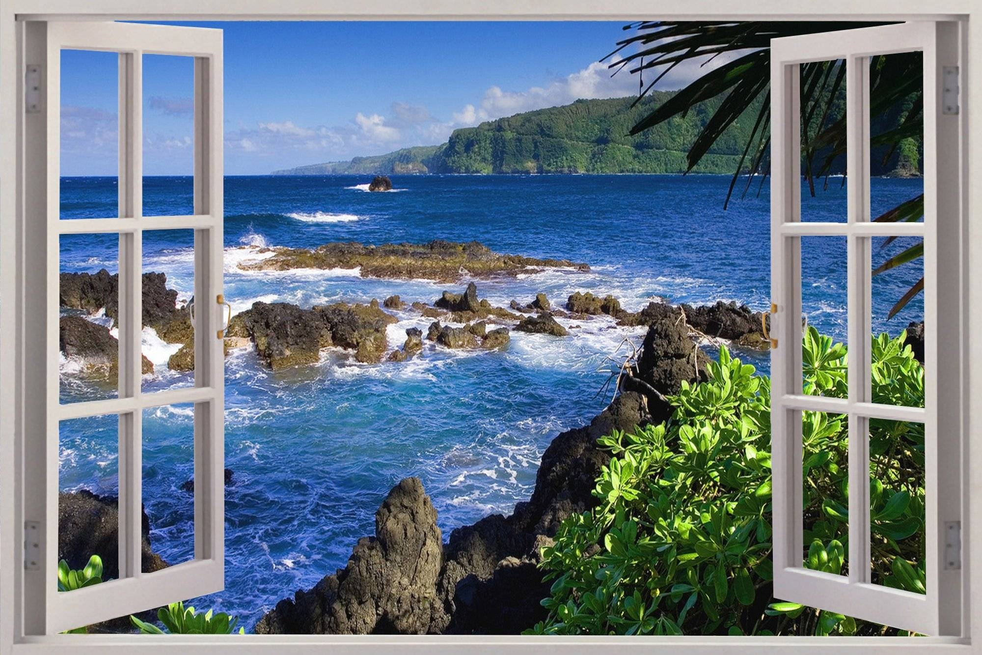 Huge 3D Window Exotic Beach View Wall Stickers Film Mural Art With Latest 3D Wall Art Window (Gallery 15 of 20)