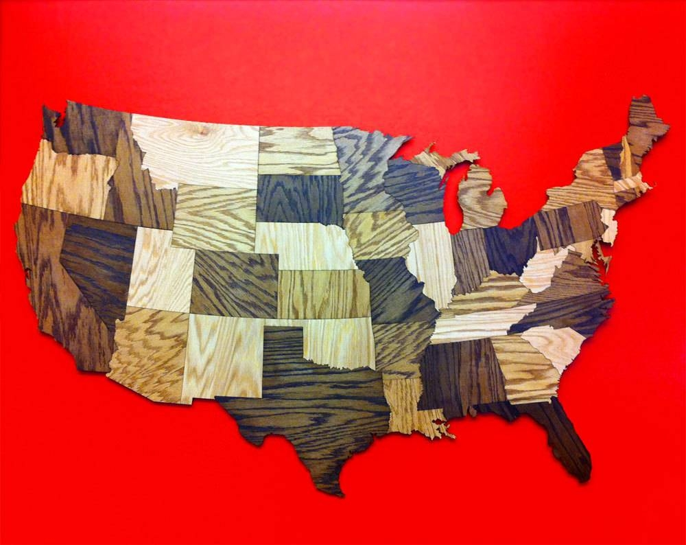 Huge 5' Wood Usa Map Wall Decoration Sculpture Rustic In Current Us Map Wall Art (Gallery 3 of 20)