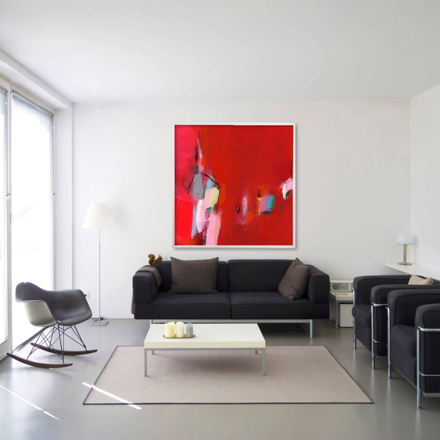 Huge Abstract Giclee Print From Abstract Original Red Painting With Newest Wall Art For Living Room (View 17 of 20)
