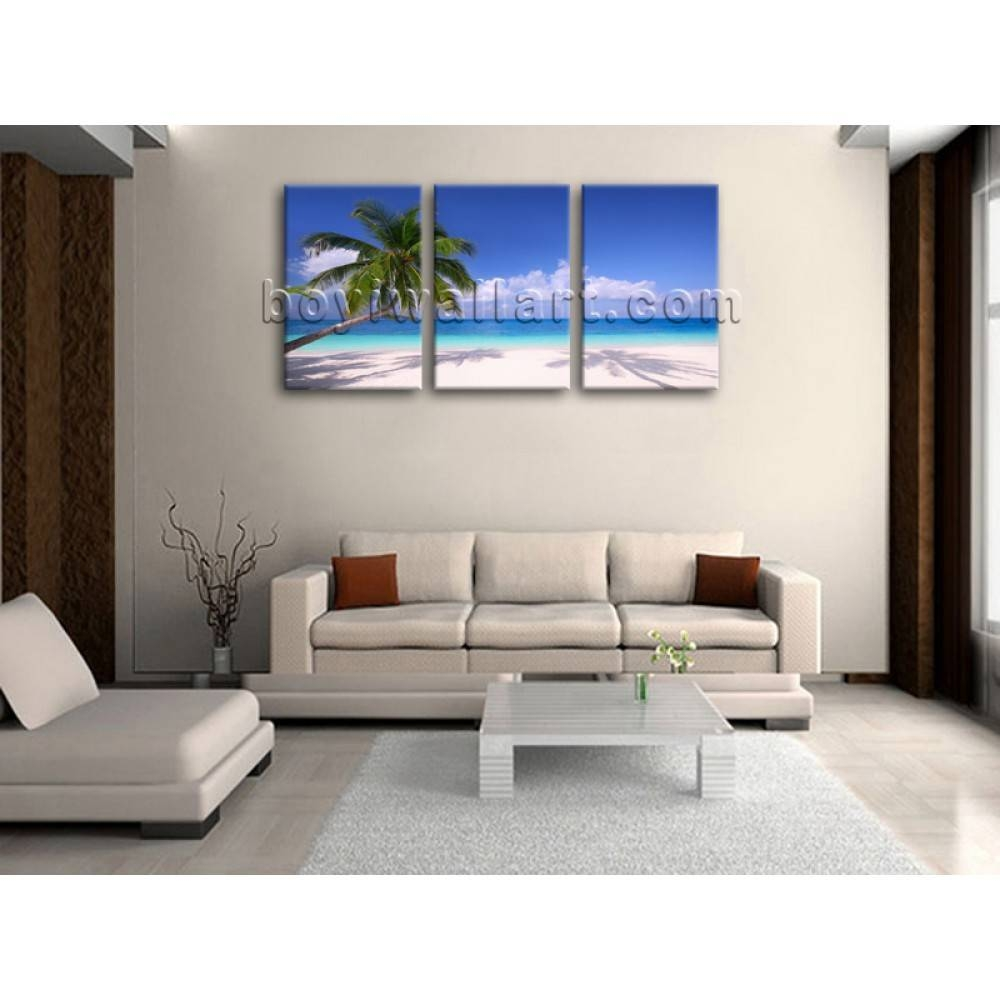 Huge Hd Canvas Print 3 Piece Framed Beach Landscape Wall Art Palm With Regard To Most Up To Date 3 Piece Beach Wall Art (View 18 of 30)
