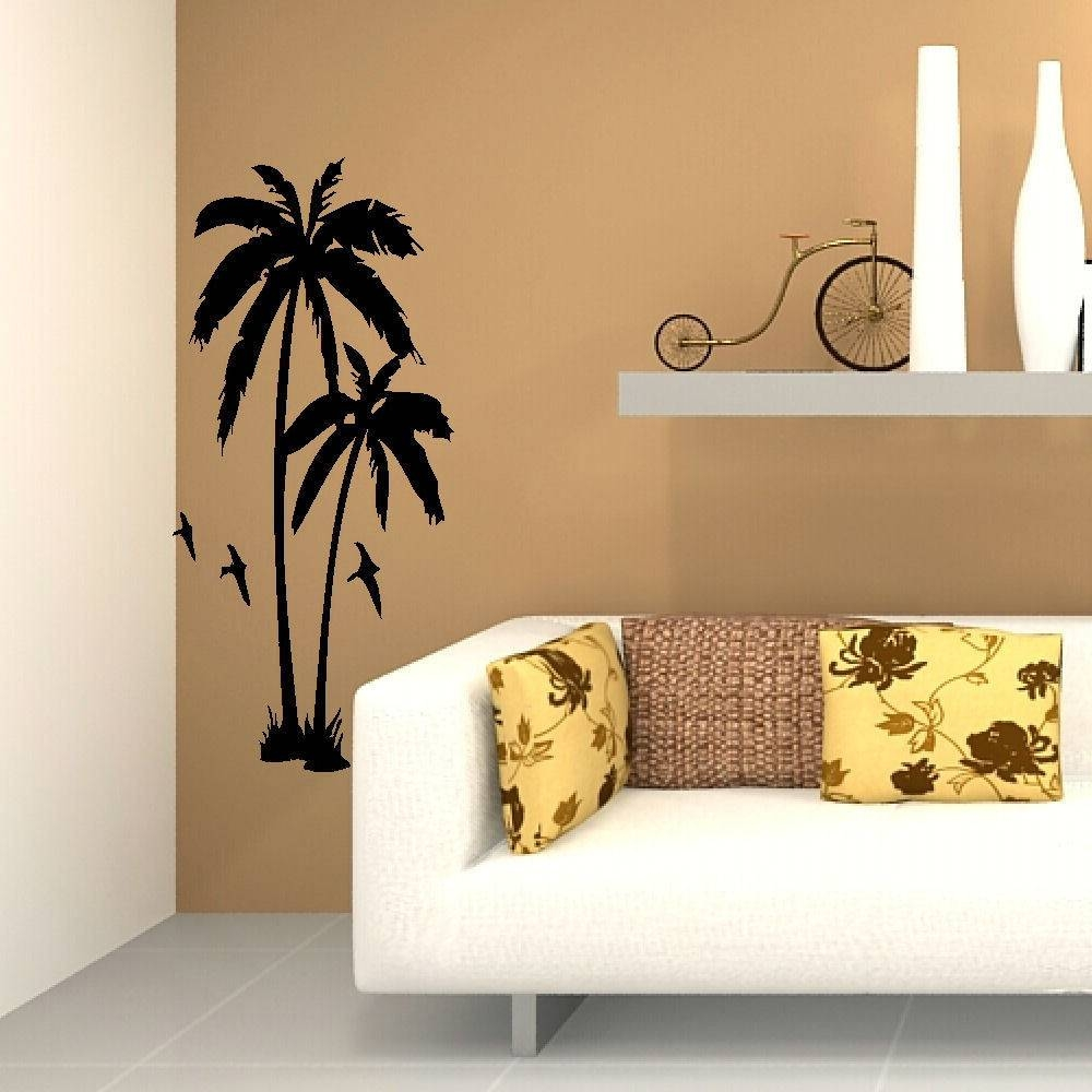 Huge Palm Tree Hall Bedroom Wall Art Mural Giant Graphic Sticker With Newest Vinyl Wall Art Tree (Gallery 9 of 20)