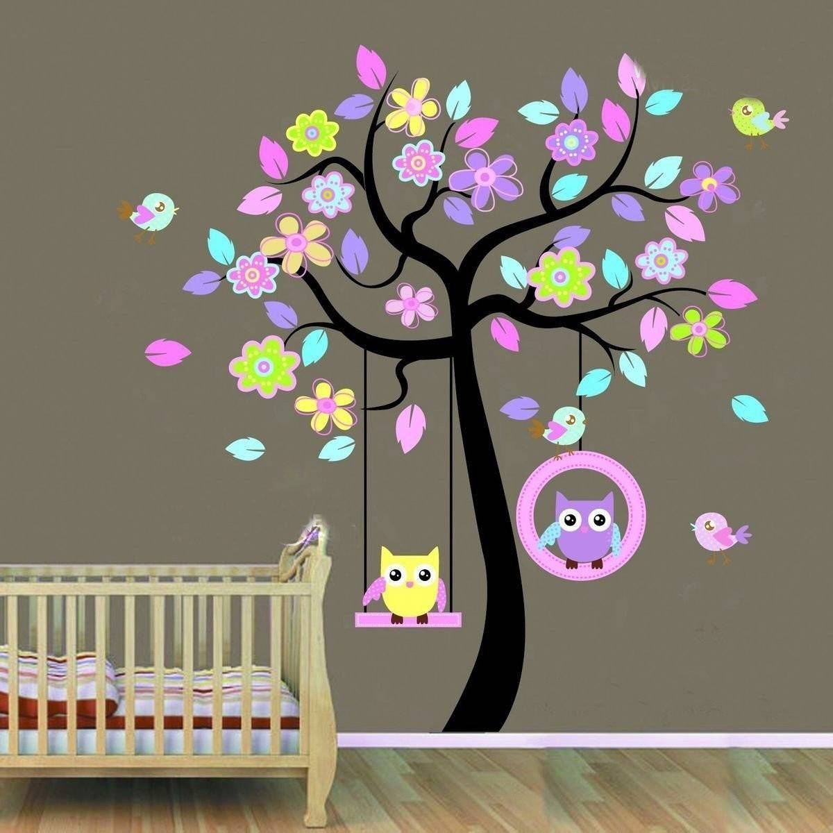 Huge Removable Swing Owl & Birds Colorful Scroll Tree Wall Art Throughout Best And Newest Owl Wall Art Stickers (View 7 of 15)
