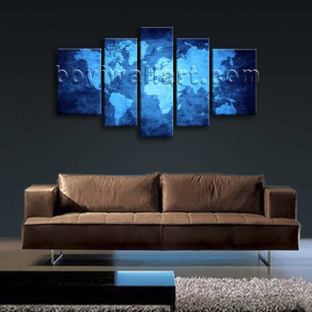Huge Stretched Contemporary Wall Art Print On Canvas Map Of World For Most Recent Atlas Wall Art (View 17 of 20)
