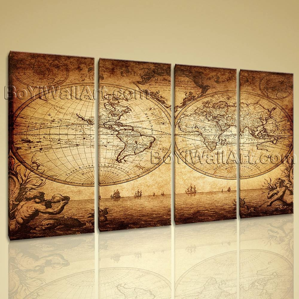Huge Vintage Map Other Retro Wall Art Canvas Print Living Room 4 In Newest Vintage Map Wall Art (View 6 of 20)