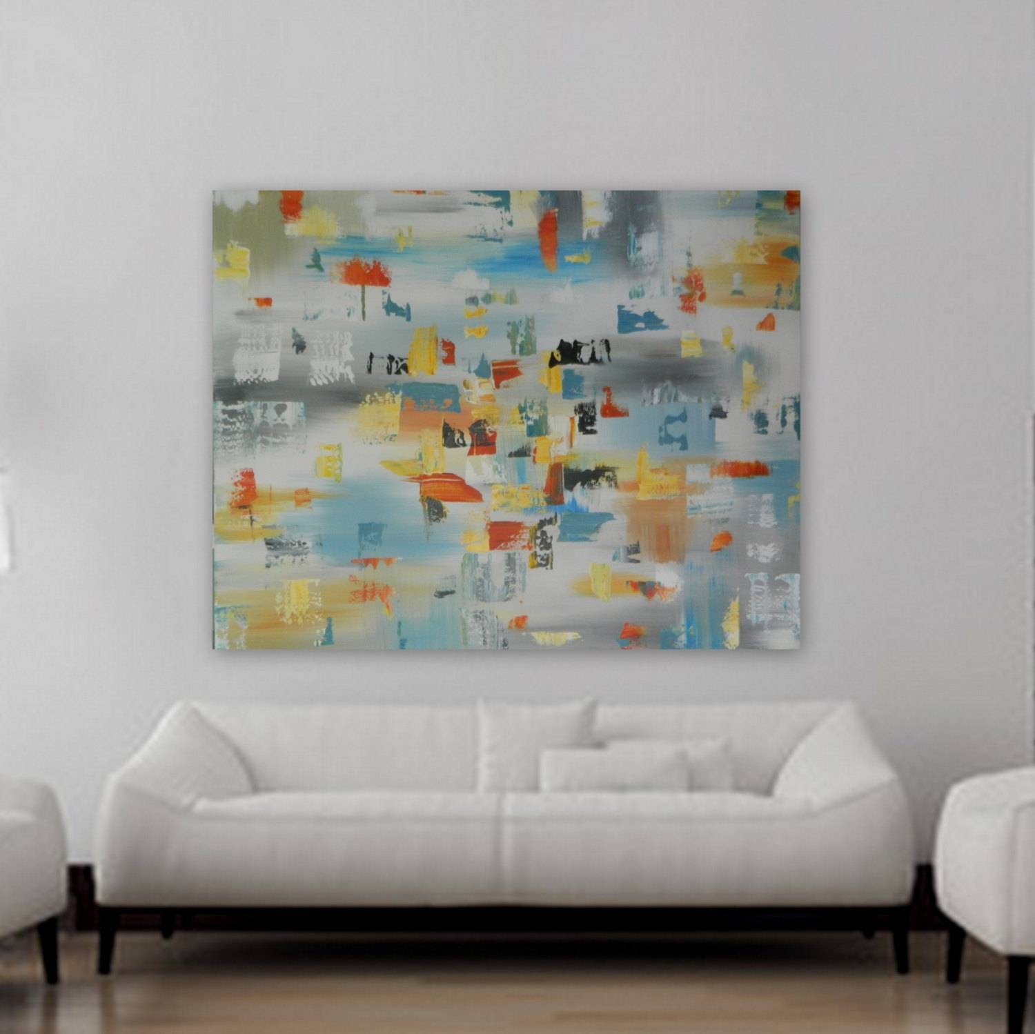 Huge Xl Origianl Abstract Painting Contemporary Mondern Wall Art Within 2017 Orange And Turquoise Wall Art (View 11 of 20)