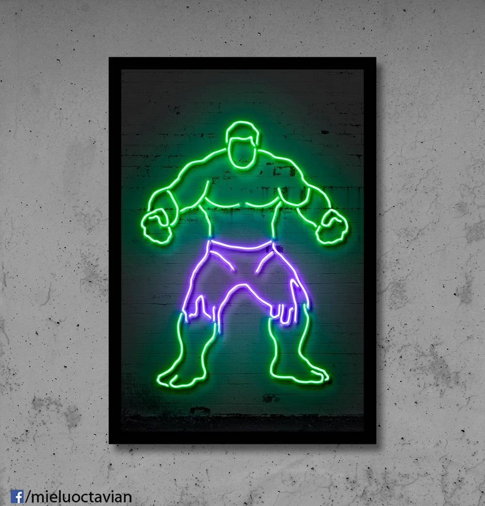 Hulk Wall Art Hulk Nursery Hulk Neon Superhero Wall Décor Kids With 2017 Superhero Wall Art For Kids (View 7 of 25)