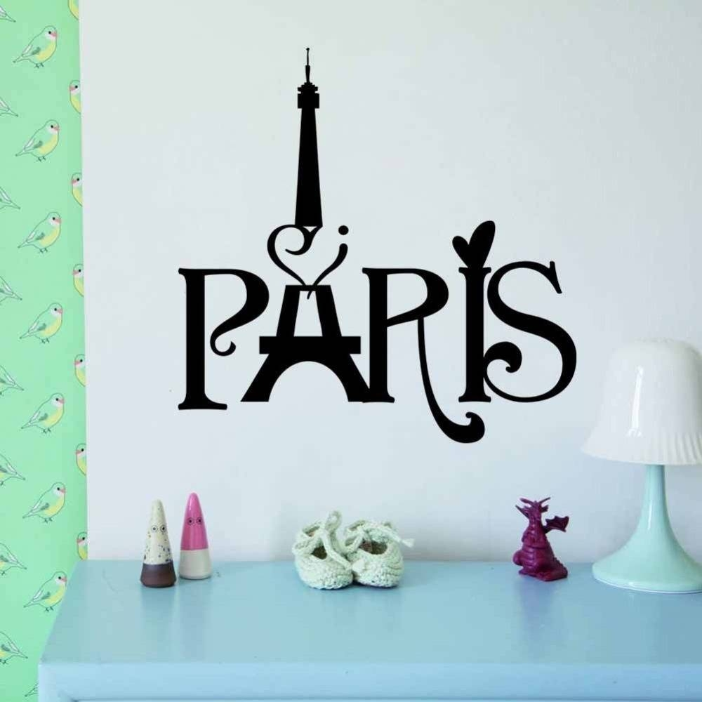 I Love Paris Art Words Home Decor Vinyl Wall Sticker Wallpaper Within Most Popular Paris Vinyl Wall Art (View 10 of 20)