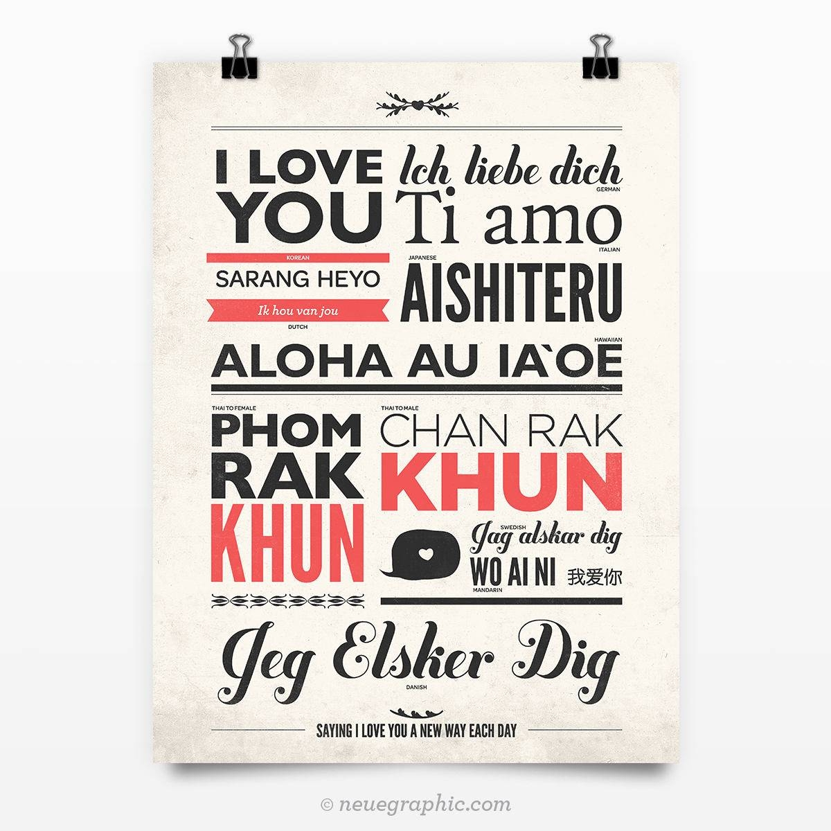 I Love You In Different Languages Vintage Typography Poster In Recent Wo Ai Ni In Chinese Wall Art (Gallery 13 of 25)