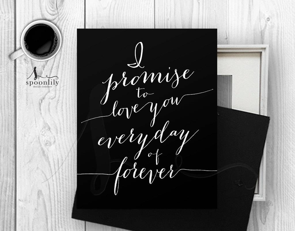 I Promise To Love You, Romantic Excerpts, Black Typography Wall For Newest Black Love Wall Art (View 15 of 15)