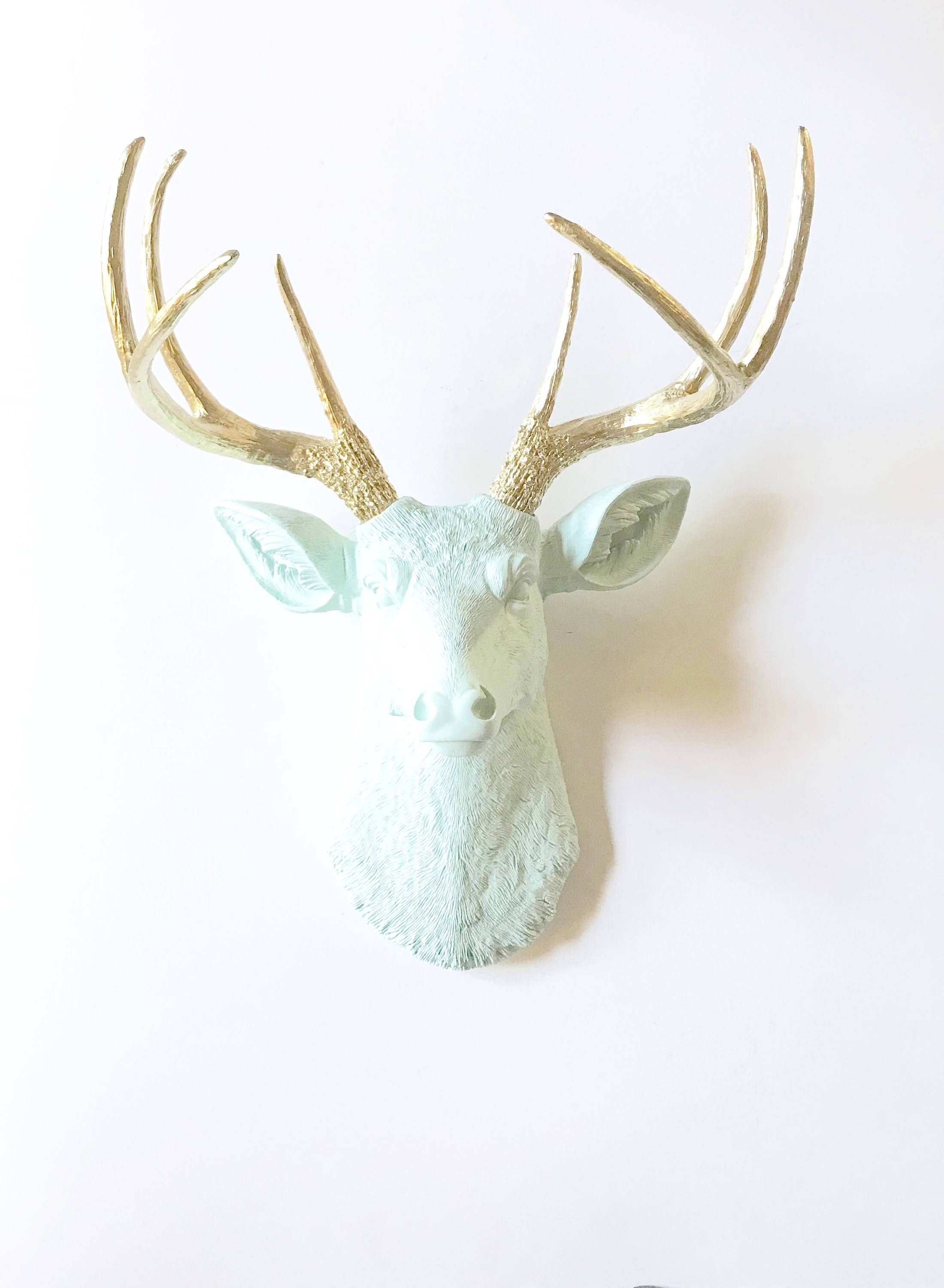 Icicle Blue Gold Faux Taxidermy Deer Head Wall Mount Stag Head With Most Up To Date Stag Head Wall Art (Gallery 9 of 20)