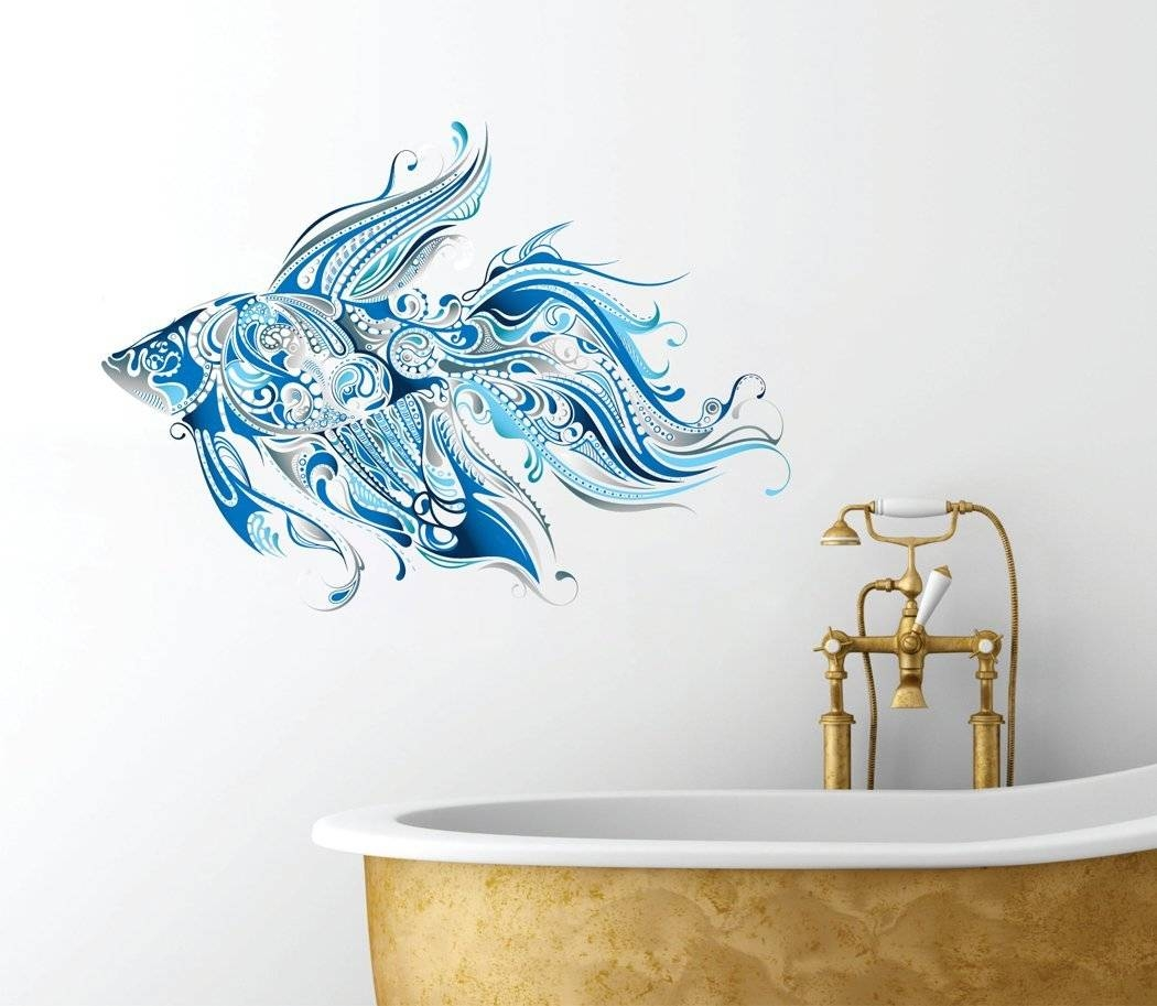 Ideas For Ocean Wall Decals | Inspiration Home Designs Intended For 2017 Fish Decals For Bathroom (View 13 of 30)