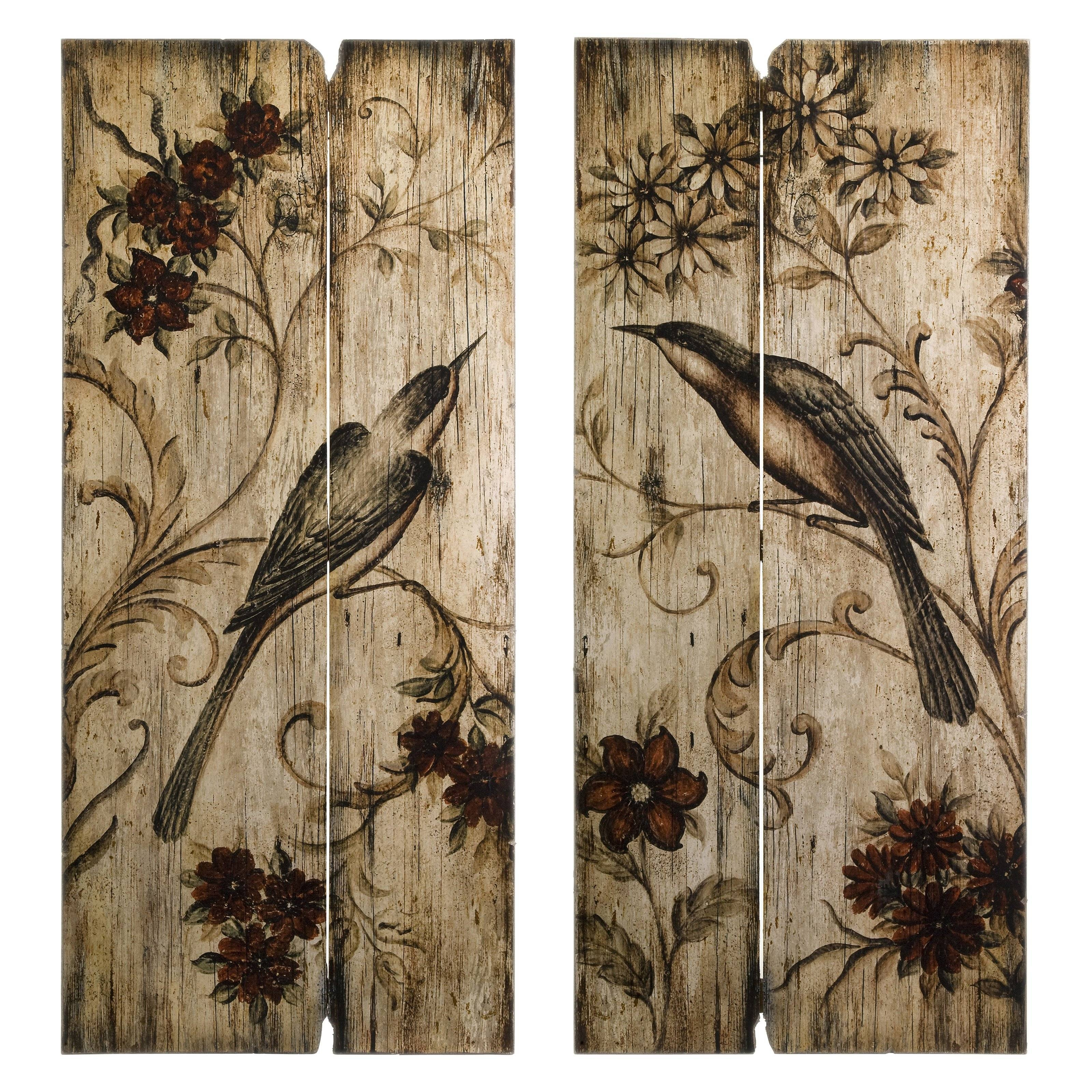 Imax Norida Bird Wood Wall Art – Set Of 2 | Hayneedle With Regard To Most Current Wooden Wall Art Panels (View 8 of 20)