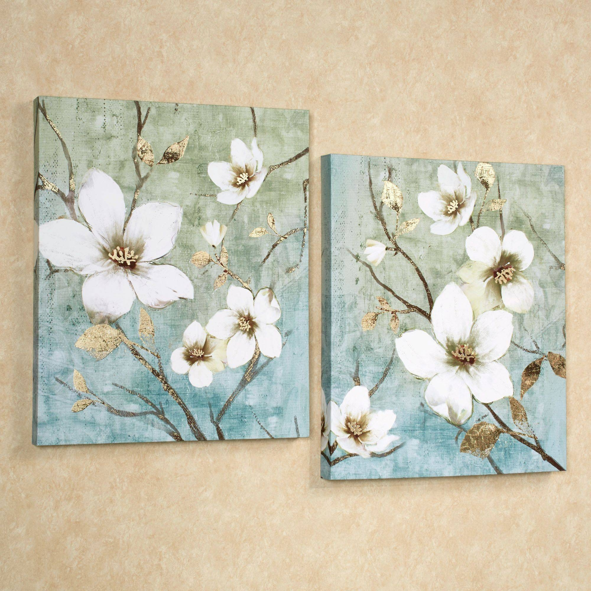 In Bloom Floral Canvas Wall Art Set Regarding 2018 Teal Flower Canvas Wall Art (View 8 of 20)