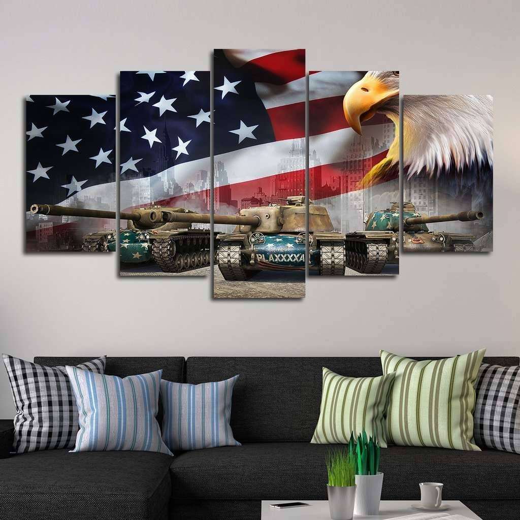 In God We Trust American Flag Multi Panel Canvas Wall Art – Mighty Throughout Newest Multi Panel Canvas Wall Art (Gallery 3 of 20)