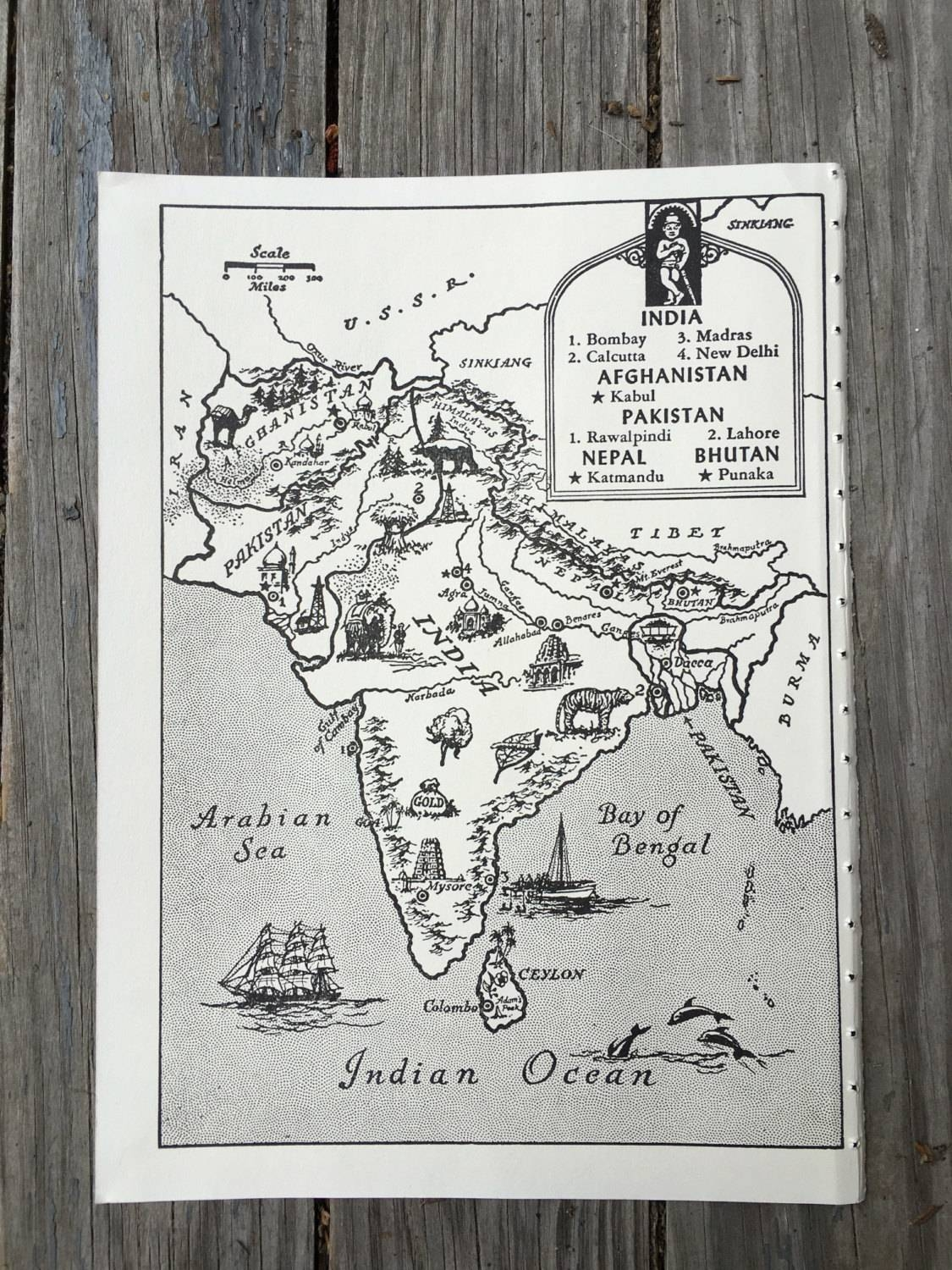 India Map Art / Old Map Print / Vintage Map Decor / World Inside 2018 Vintage Map Wall Art (View 19 of 20)