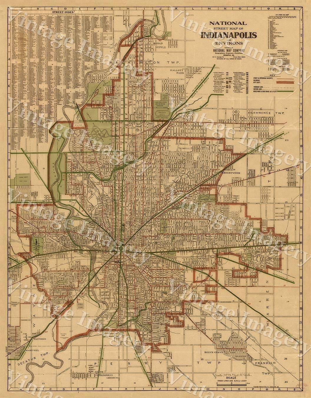 Indianapolis Map 1921 Old Antique Restoration Hardware Style Throughout 2017 Antique Map Wall Art (Gallery 19 of 20)