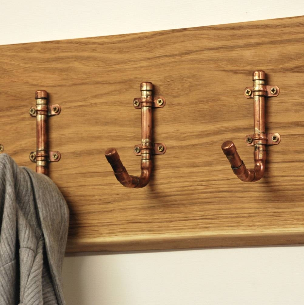 Industrial Copper Pipe Hooks  Fathers Day – Gift For Dad – Dad Inside Most Popular Wall Art Coat Hooks (View 11 of 20)