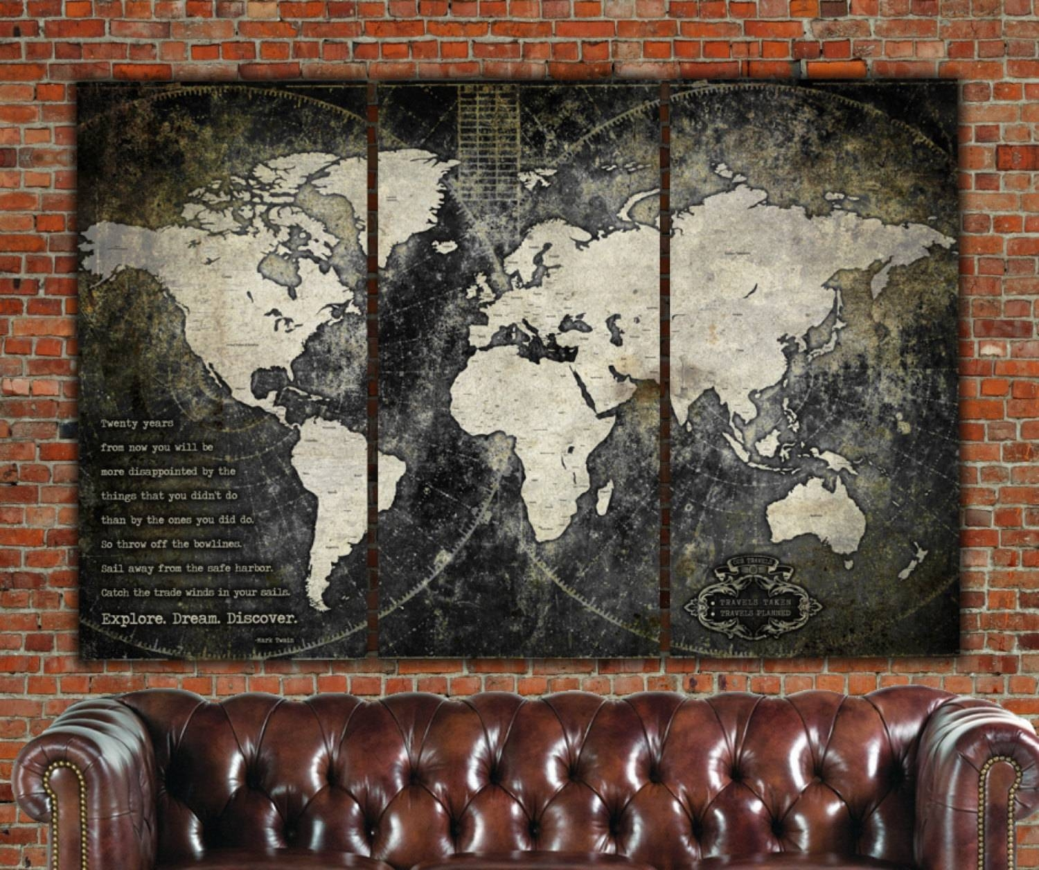 Industrial Push Pin World Map World Map Canvas Vintage Map Throughout Most Current Antique Map Wall Art (View 7 of 20)