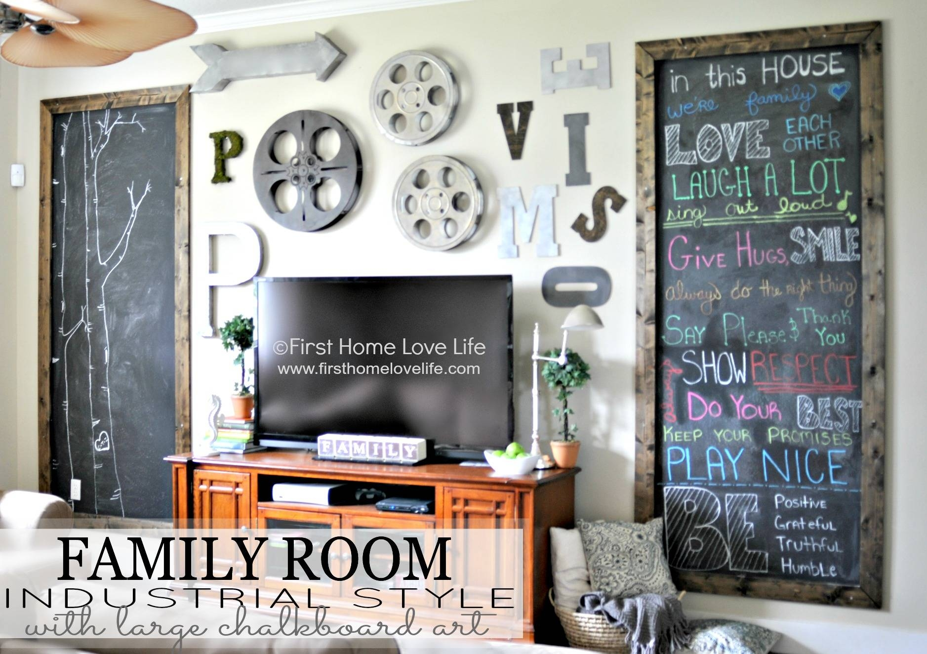 Industrial Style Family Room Gallery Wall With Chalkboard Art Inside Most Recently Released Wall Art Decor For Family Room (View 8 of 20)