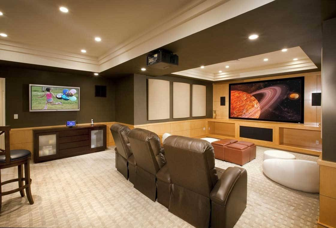Interior : Charming Large Space Basement Media Room Decor Ideas Throughout Recent Media Room Wall Art (Gallery 5 of 20)