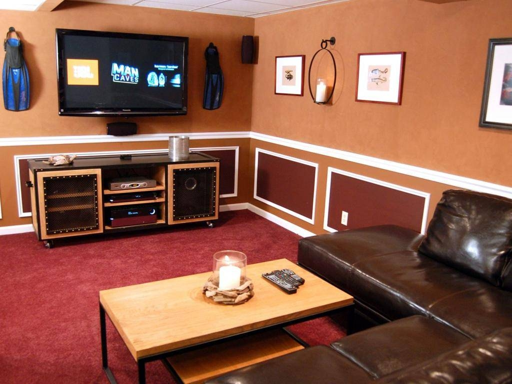 Interior : Outstanding Small Man Cave Media Room Ideas Brown With 2018 Media Room Wall Art (Gallery 10 of 20)