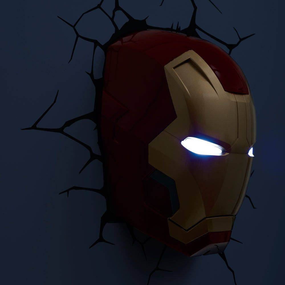 Iron Man 3 Face 3D Deco Light – Energy Efficient Wall Mounted Within Recent Iron Man 3D Wall Art (View 10 of 20)